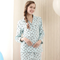 Qianxiu Spring&Autumn Casual Plaid  Long-sleeve Pajamas For Women Lounge Wear 100% Cotton Sleepwear