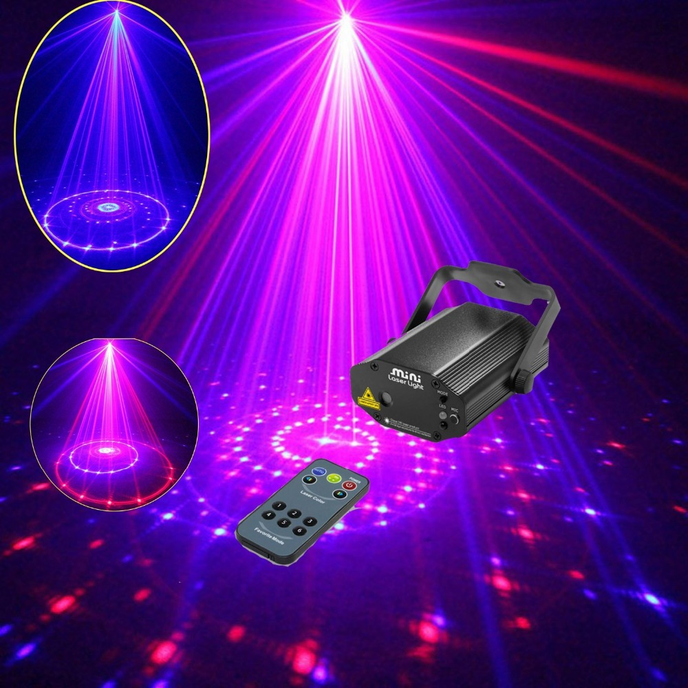 ФОТО Tomoral  12 Patterns Red Blue Professional Led Stage Lights RB Laser Projector Party Effect Club Bar DJ Disco Home Lights