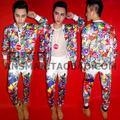 Горячий новый Мужской DJ певица BIGBANG G-Dragon Мода Пальто мультфильм мультфильм граффити хип-хоп бейсбол куртка костюмы Костюмы S-5XL