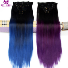 Neverland Hairpiece 24″ 60cm Straight 16 Clips Full Head False Hair Styling Synthetic Purple Blue Ombre Clip In Hair Extensions