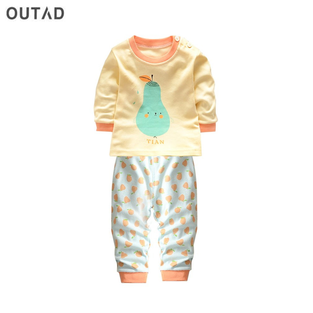OUTAD 2Pcs/set Infant Baby Suit Lovely Cartoon Pear Printed Newborn Clothing Spring Autumn Baby Boys Girls Cotton Outfit Clothes