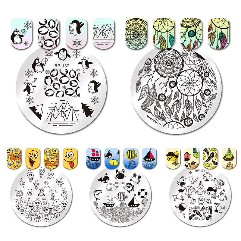 Nails Art & Werkzeuge PüNktlich Geboren Ziemlich Runde Stanzen Vorlage Traum Catcher Geometrie Pinguin Schneeflocke Feder Nail Art Platte Maniküre Bp130-137