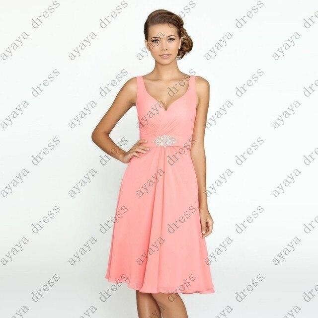 Wejanedress coral corto vestido de festa de casamento 2017 v cuello ...