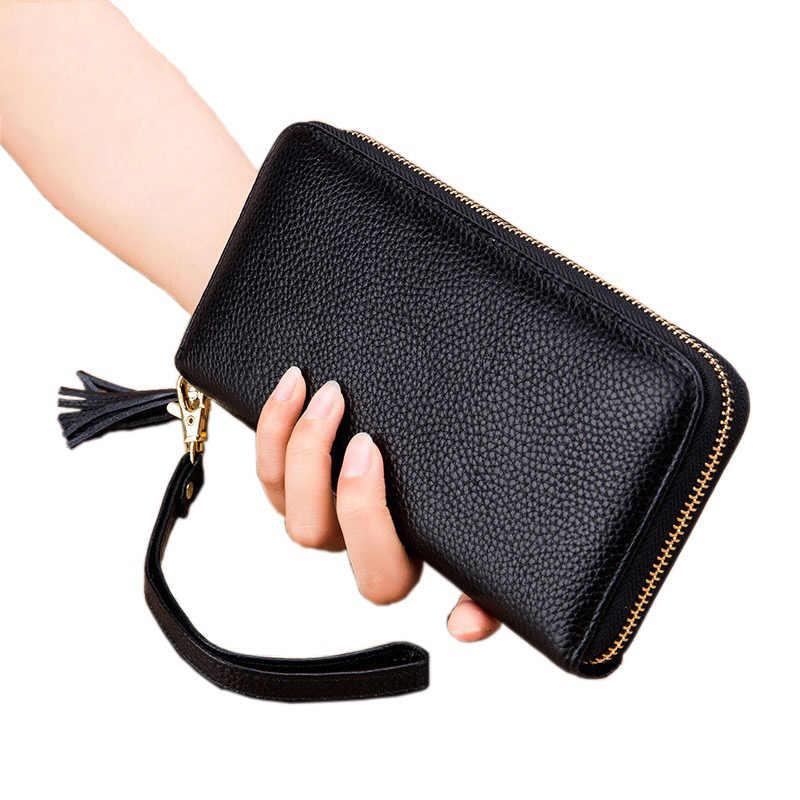 397eca7acbe8 NIGEDU 100% Натуральная кожаные кошельки для женщин большой ёмкость молнии  Длинные кошельки женский с кисточкой