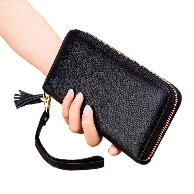 NIGEDU 100% Genuine Leather Wallets Women Large Capacity Zipper Long Purses Female With Tassel Clutch Purse Wrist Bag Money Clip