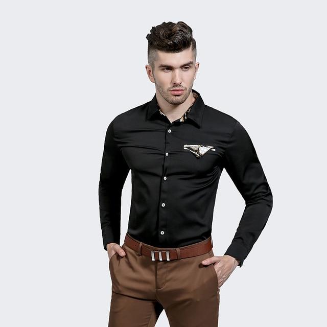 Fashion Pocket Designer Shirts Men  Slim Fit Casual Long Sleeve Cotton Mens White Black Shirts