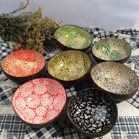 5Pcs Tableware Natural Coconut Shell Bowls Freehand Sketching Colorful Decoration Candy Bowl Food Container Jewelry Storage