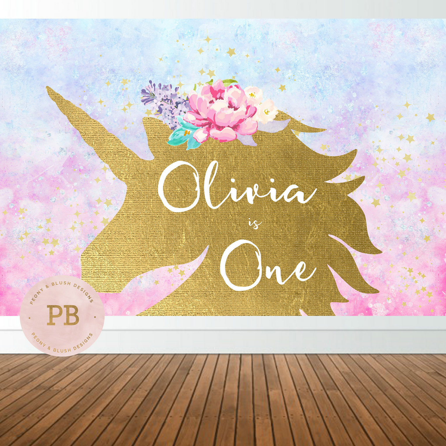 custom unicorn birthday flower colorful clouds background High quality Computer print party photo backdrop
