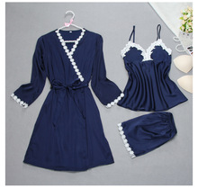 New Women Fashion Spring Summer Silk Pajama Set Sexy Floral Pyjamas + Robe 3 pcs Lingerie Sets Sleepwear Nightwear