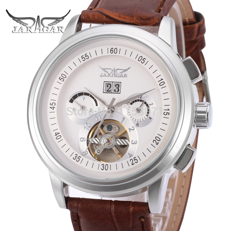 Jargar Men s Watch Luxury Selft wind Automatic Brown Genuine Leather Strap Multifunctional Wristwatch Color White