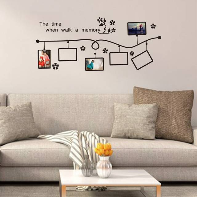 7e73d04acc0 Online Shop free shipping Classic flower vine photo frame vinyl wall decal  stickers for living room sofa TV background wall picture frames