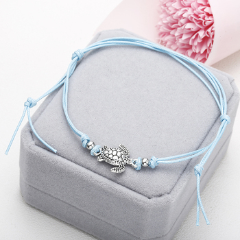 NS37 Summer Beach Turtle Shaped Charm Rope String Anklets For Women Ankle Bracelet Woman Sandals On the Leg Chain Foot Jewelry 2
