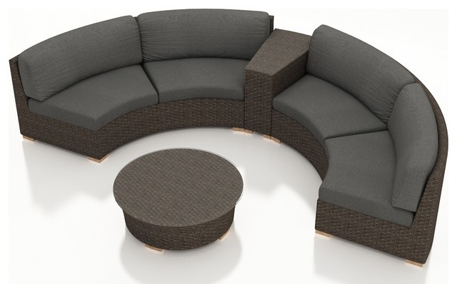 Rattan Furniture Outdoor 4 Piece Half Round Sectional