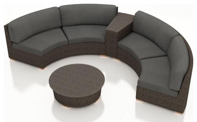 rattan furniture outdoor 4 piece half round sectional wicker sofa set