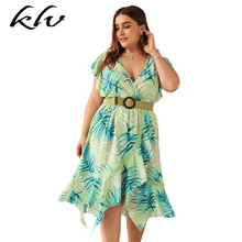 цены на Plus Size Women Holiday BOHO V Neck Flare Sleeve Floral Print Irregular Ruffles Short Dress в интернет-магазинах