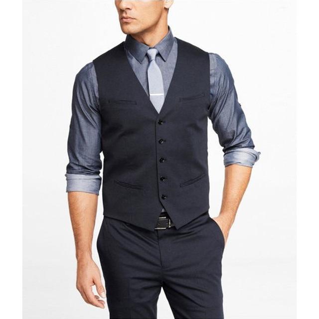 New Fashion Formal Business Men Vest Grey Dark Navy Groomsmens Vest ...