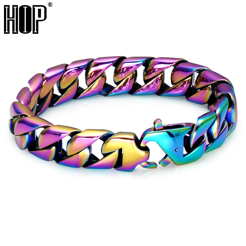HIP Hop Rainbow Mens Bracelet Cool Colorful 316L Stainless Steel Curb Cuban Link Chain Bracelets For Men Rock Jewelry 25mm mens chain boys big curb link gunmetal tone 316l stainless steel bracelet charm bracelets for women