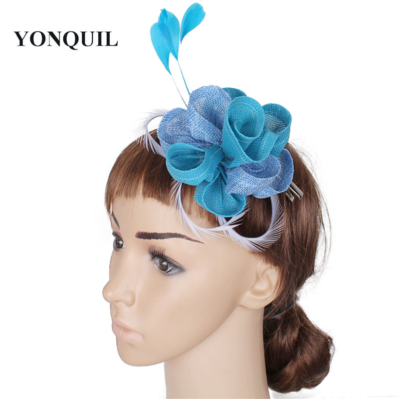 19 Colors cute rose Small fascinators hats wedding party headpiece on hair combs with feather decor accessories new year gifts headpiece