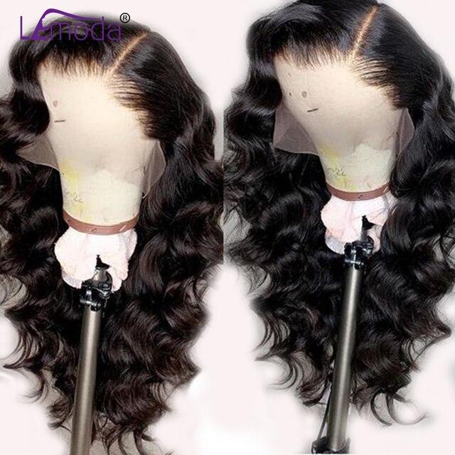 Peluca de encaje de onda suelta pelucas de cabello humano Pre desplumado Lemoda Remy parte libre pelo predesplumado brasileño 13x4 peluca Frontal de encaje