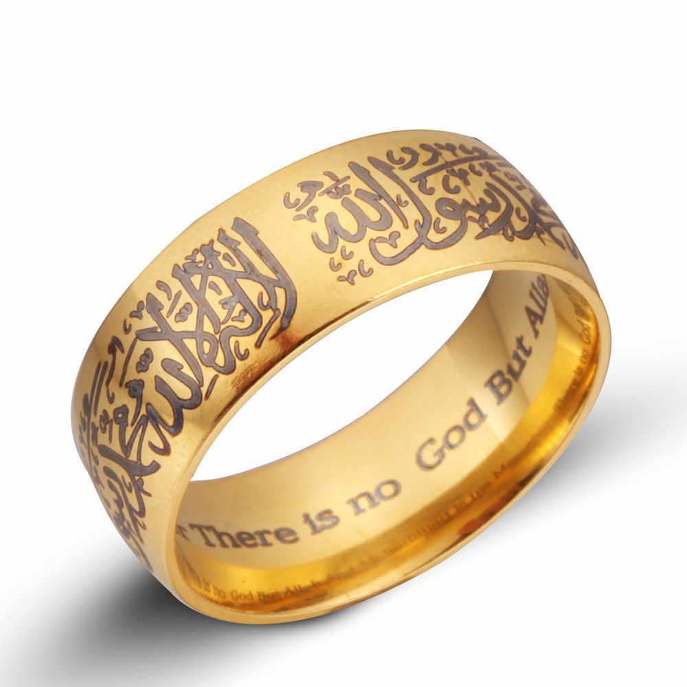 Erluerヴィンテージ黒ゴールドシルバーカラーリングジュエリー卸売メンズチタン鋼教徒宗教イスラムhalaリング用女性