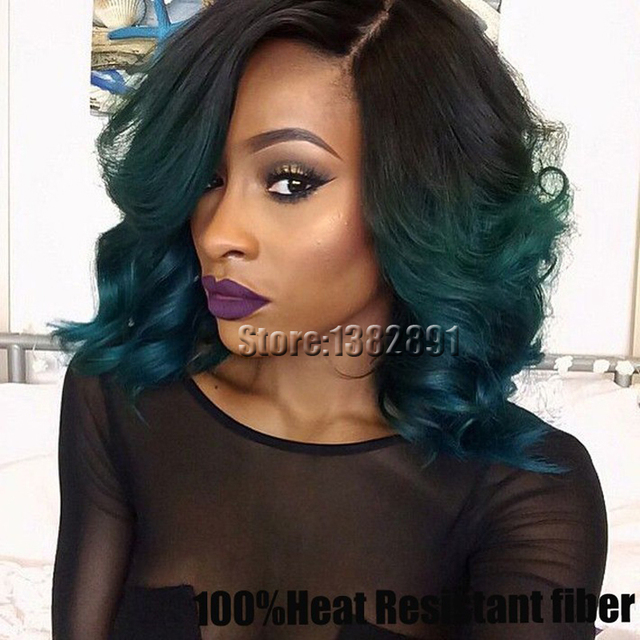 Cheap Synthetic Lace Front Wig African American Short Curly Synthetic Wigs  For Black Women Ombre Black Green Front Lace Wigs 2434fb0273