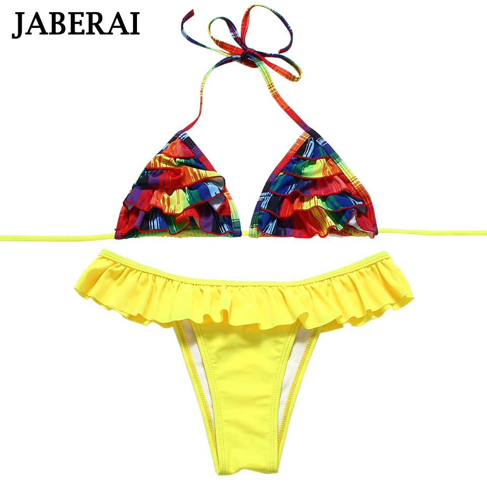 JABERAI Floral Wave Edge Swimwear Women Brazilian Bikini Sexy Thong Swimsuit Halter 2017 Bathing Suit Beachwear Biquini 12Colors diysecur infrared contactless bule backlight touch exit button door release switch for access control free shipping