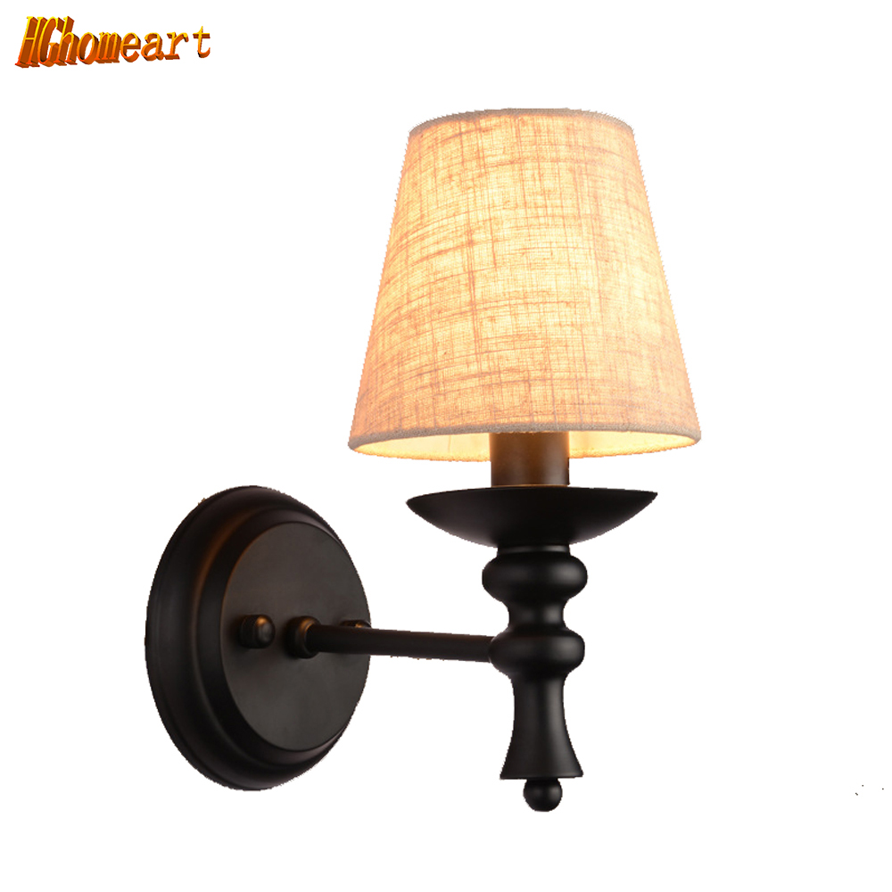 European Style Modern Wall Lamp American Country Bedroom Bedside Wall Light Simple Living Room Aisle Lamp Single Head Sconce купить