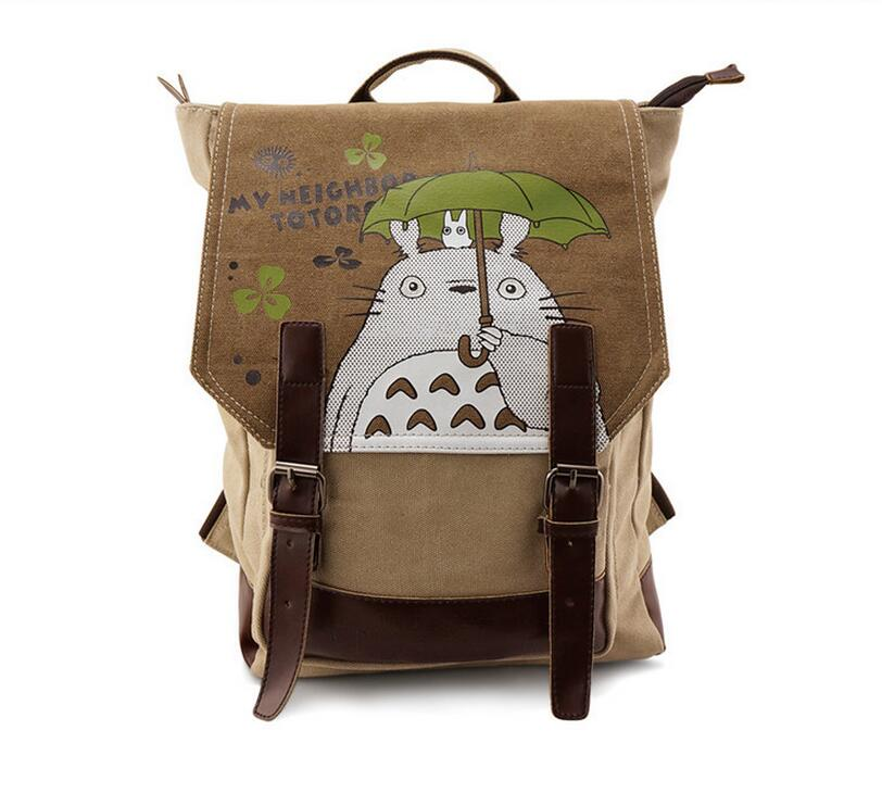 Cute Canvas Totoro Bag Anime Backpack School Bags Cartoon Bookbag Shoulder Teenagers My Neighbour Totoro Printed Rucksack anime my neighbour totoro cute card bag wallet holder zipper kawaii gray hanging