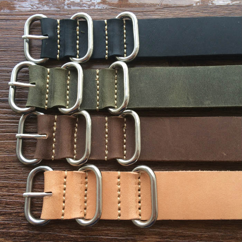 купить High Quality 18MM / 20MM / 22MM / 24MM /26MM Strap Genuine Leather Watch Band For NATO Straps Silver Black Brown Gray Strap по цене 988.68 рублей