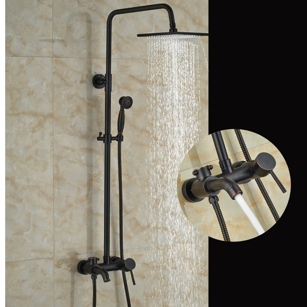 цена на Modern Square Rain Shower Head Wall Mounted Bathroom Tub Faucet Hand Sprayer Tap