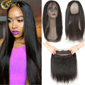 360 Lace Frontal With Bundle 7A Silk Straight 360 Lace Frontal Closure With 3 Bundles Brazilian Virgin Hair With Closure Band