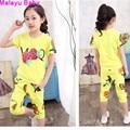 Malayu Ребенка 2016 Цветочные лето Марка девушки установить девочек короткие Футболки + брюки (Saika Футболка + короткая юбка) часть 4-10 лет