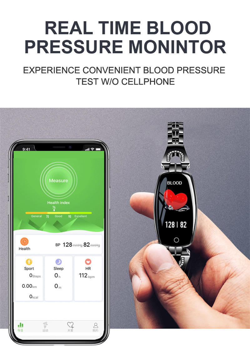 Bluetooth Waterproof H8 Smart Watch Fashion Women Ladies Montre Heart Rate Smartwatch Relogio Inteligente For Android IOS Reloj in Smart Wristbands from Consumer Electronics