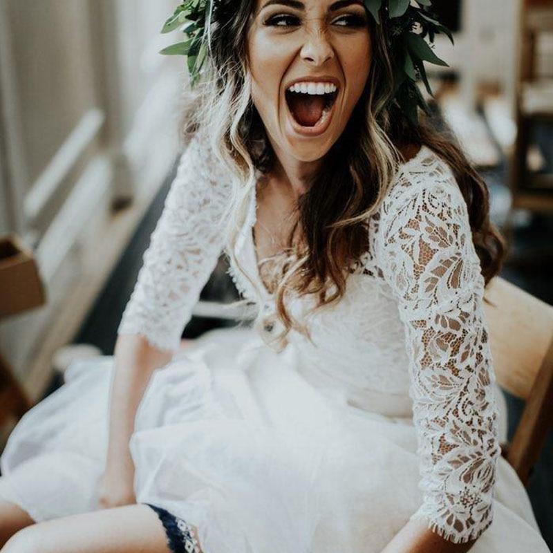 2019 New Wedding Dress Long Sleeves A Line White Ivory Chiffon Lace Princess Beach Bride Two