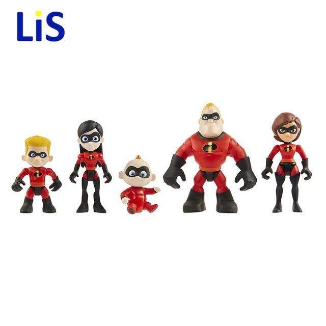 5 2 pçs/lote The Incredibles Super Homem Traço Parr Jack Parr Elástica PVC Action Figure Brinquedos Modelo 4-10 cm de Presente de natal
