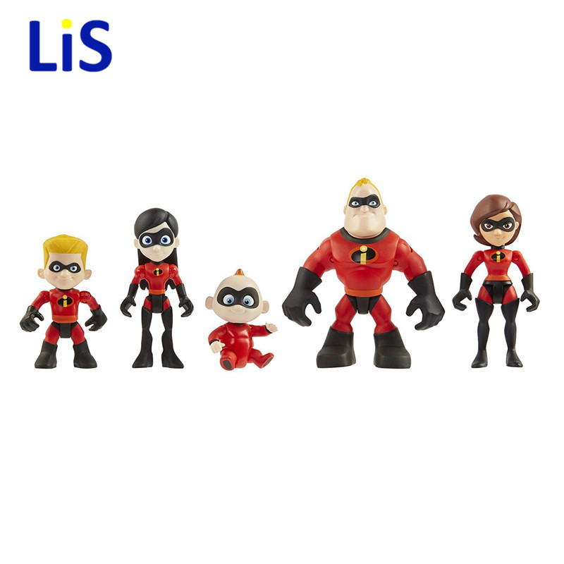 5pcs/lot The Incredibles 2 Super Man Dash Parr Jack Parr Elastigirl PVC Action Figure Model Toys 4-10cm christmas Gift maria parr vilgukivioru tonje