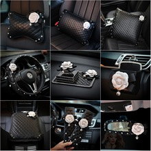 Steering-Wheel-Cover Key-Case Car-Interior-Accessories Black Fashion Cute 38cm with Diamond