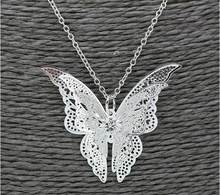 Baru Fashion Hollow Butterfly Liontin Kalung Multilayer Kristal Butterfly Wing Kalung untuk Wanita 925 Perhiasan(China)