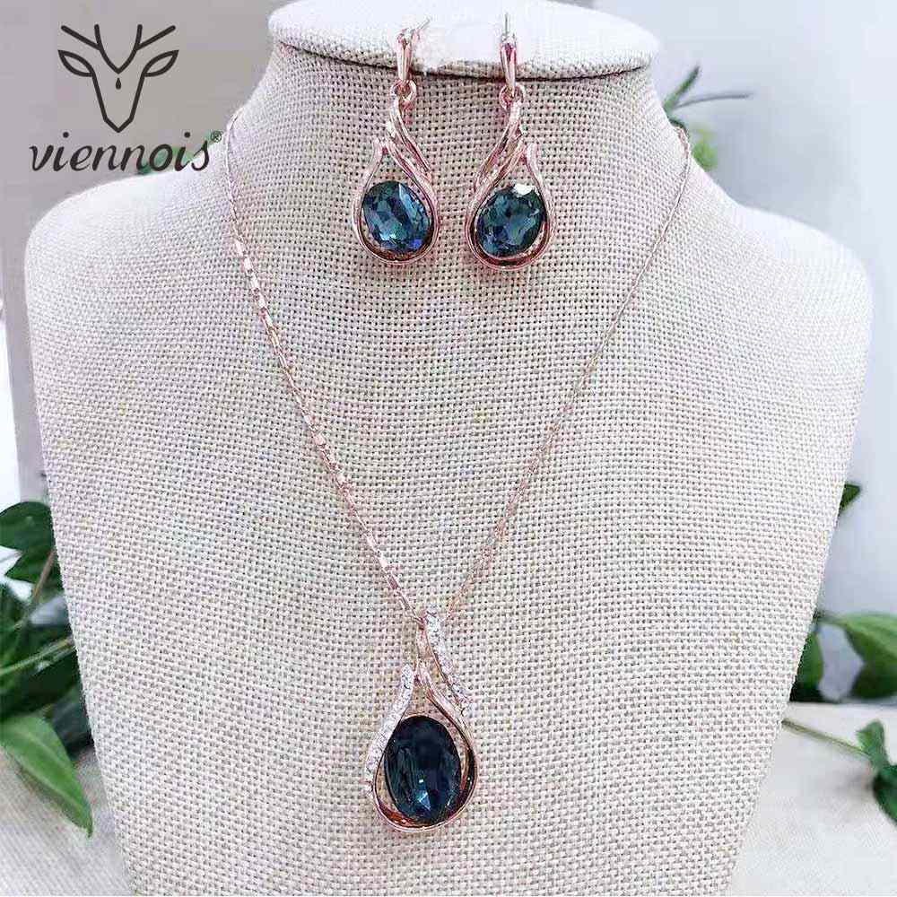Viennois Blue&Orange&Purple Color Crystal Jewelry Sets For Women Wedding Bridal Pendant Necklace Dangle Earrings Set 2019