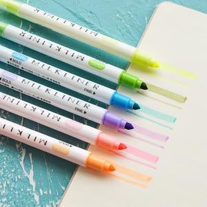 Image 5 - 4 satz/los Mild 12 farbe Highlighter marker Dual seite 3mm Bold 0,5mm Feine zeichnung stift Schreibwaren Büro Schule liefert A6103