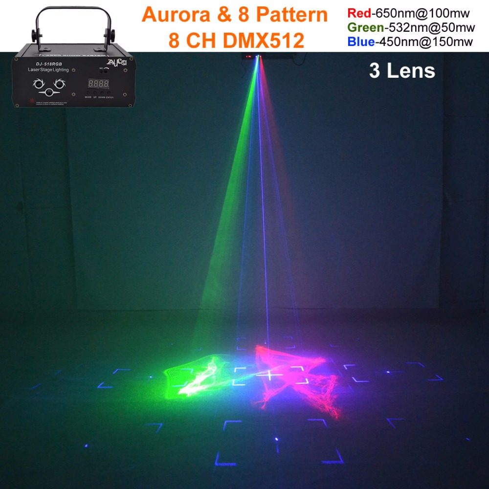 AUCD Mini 8 Red Green Blue Gobos Mixed Aurora LED Effect DMX Stage Lighting DJ Party Home Wedding Light DJ-518RGB rg mini 3 lens 24 patterns led laser projector stage lighting effect 3w blue for dj disco party club laser