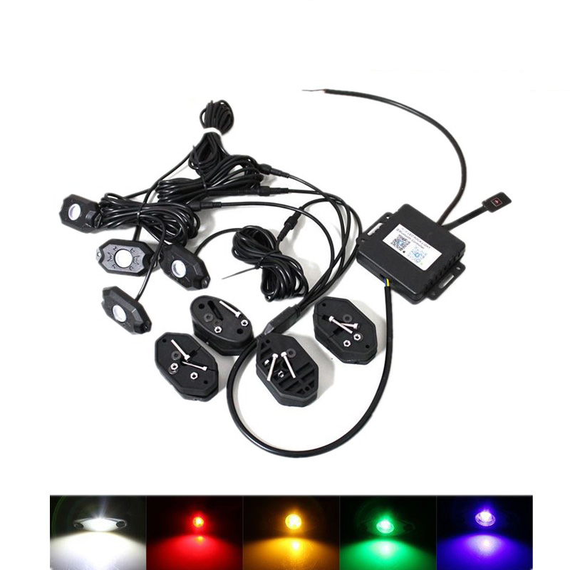 VOSICKY 4 Pods Multicolor Neon LED Light Kit RGB LED Rock Lights with Bluetooth Controller For Timing, Music Mode, Flashing vosicky 4 pods multicolor neon led light kit rgb led rock lights with bluetooth controller for timing music mode flashing