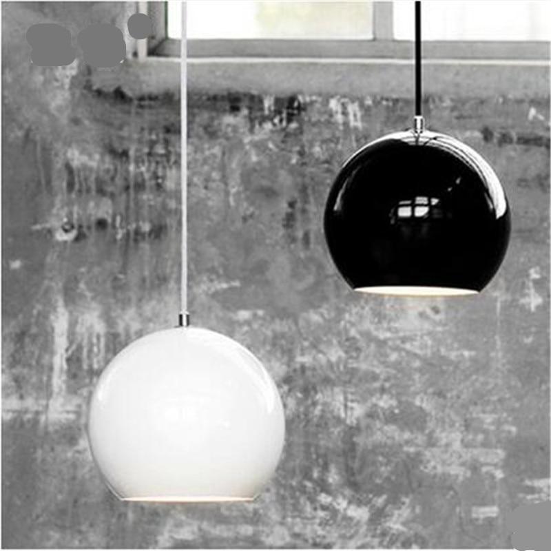 Black/White Dia 20cm Aluminum Ball Led E27 Pendant Light for Bedside Dining Room Modern Brief Metal Pendant Lamps 1593 цена