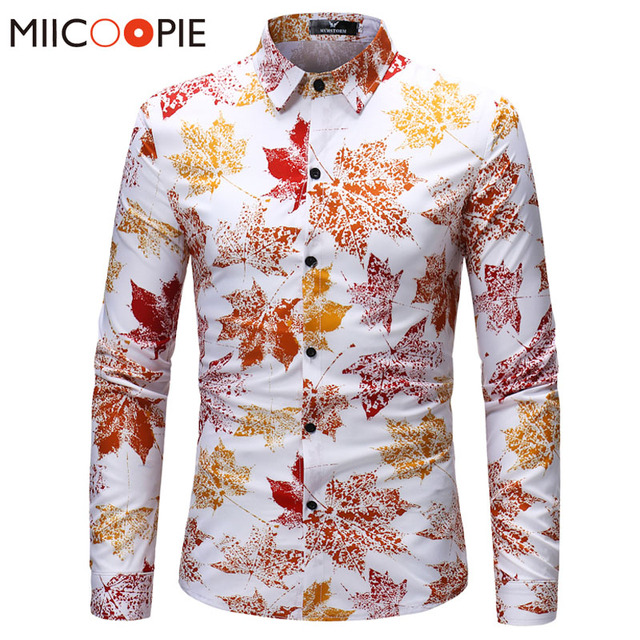 a2c539f377a0 2018 Spring Men Trend Floral Shirts Luxury Male Maple Leaf Print Long Sleeve  Slim Fit Dress