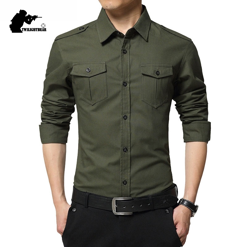 New Men's Casual Shirts Long Sleeve Military Double Pocket  100% Cotton Linen Shirt Men Chemise Homme Fit Slim 4XL AE6620