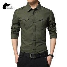 Yeni erkek rahat gömlekler uzun kollu askeri çift cep % 100% pamuk keten gömlek erkekler Chemise Homme Fit Slim 4XL AF6620