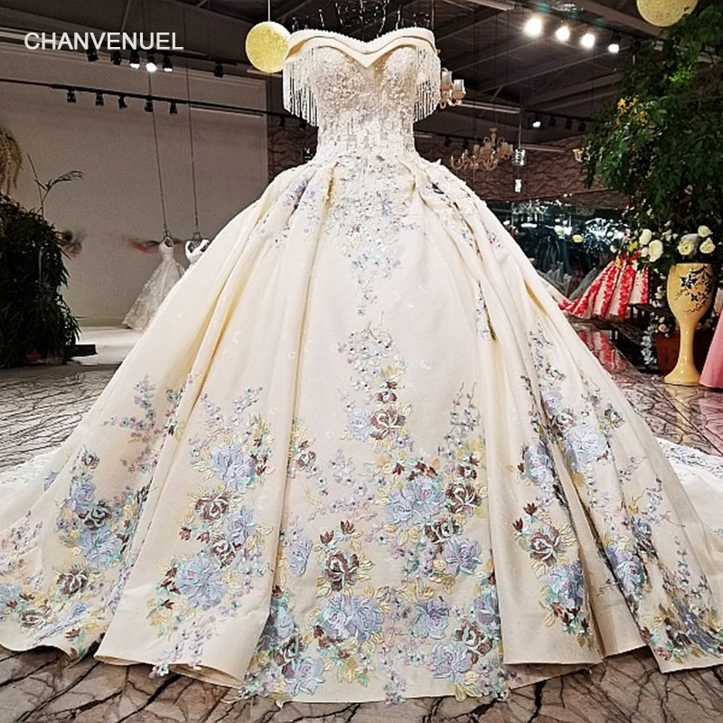 LS09476 2018 ball gown wedding dress with color flowers off shoulder sweetheart bridal wedding gowns with long train as photos Платье