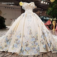 LS09476 2018 ball gown wedding dress with color flowers off shoulder sweetheart bridal wedding gowns with long train as photos