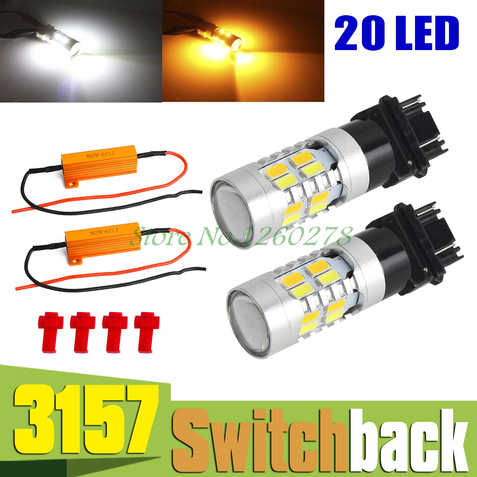 3157 White Amber Dual Color Switchback LED Turn Signal Light Bulbs+Resistors 2pcs 3157 switchback bulbs turn signal light 3056 3156 3057 led car bulbs 42smd dual color amber white pack of 2