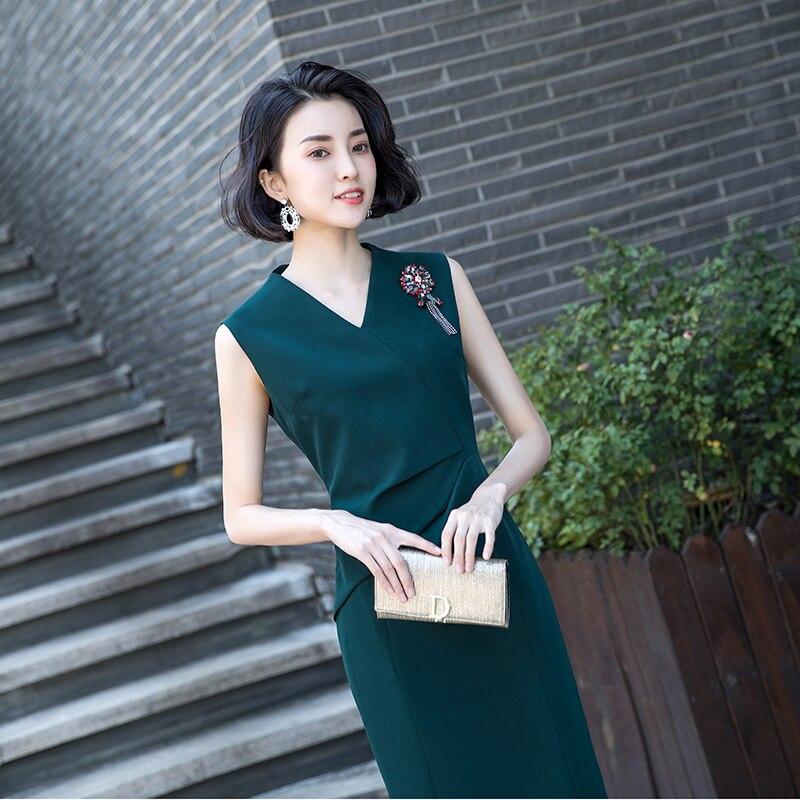 Vrouwen volledige jurk vrouwelijke nieuwe 2019 modieuze temperament is eenvoudig en gemakkelijk lange lijsten tonen dunne zomer jurk - 3